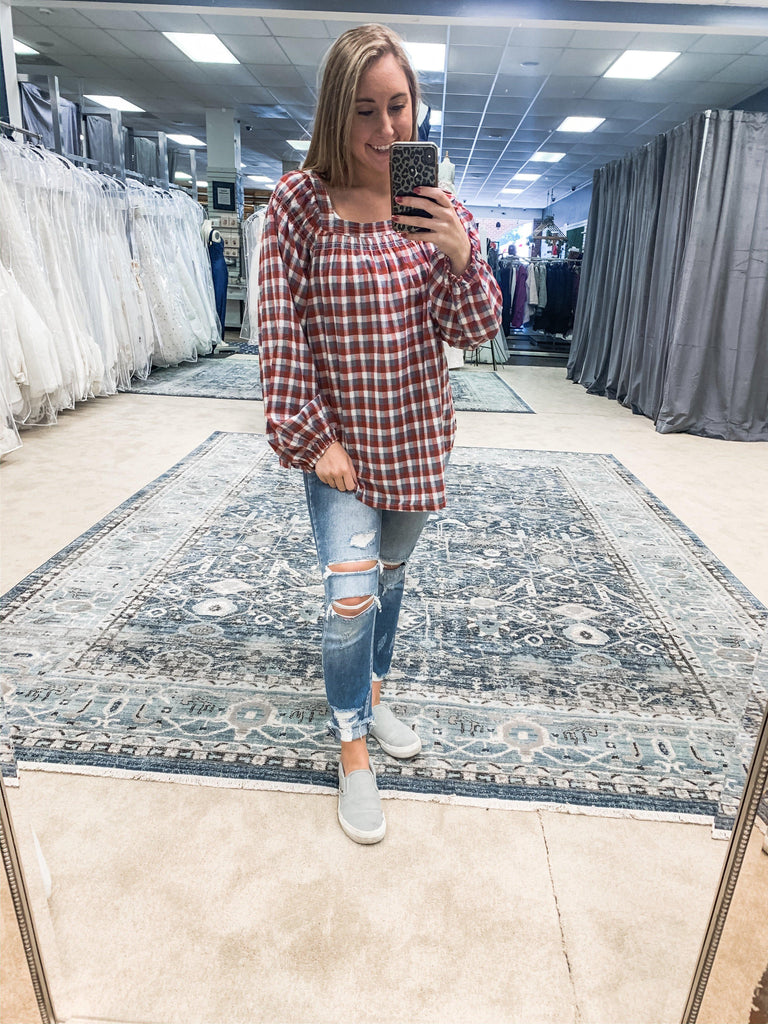 Gingham Plaid Top- Red