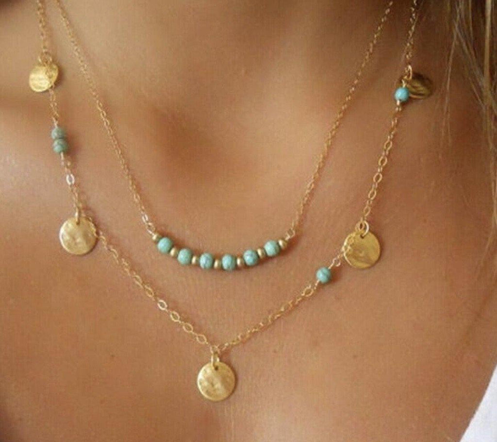 Gold and turquoise multi layer necklace