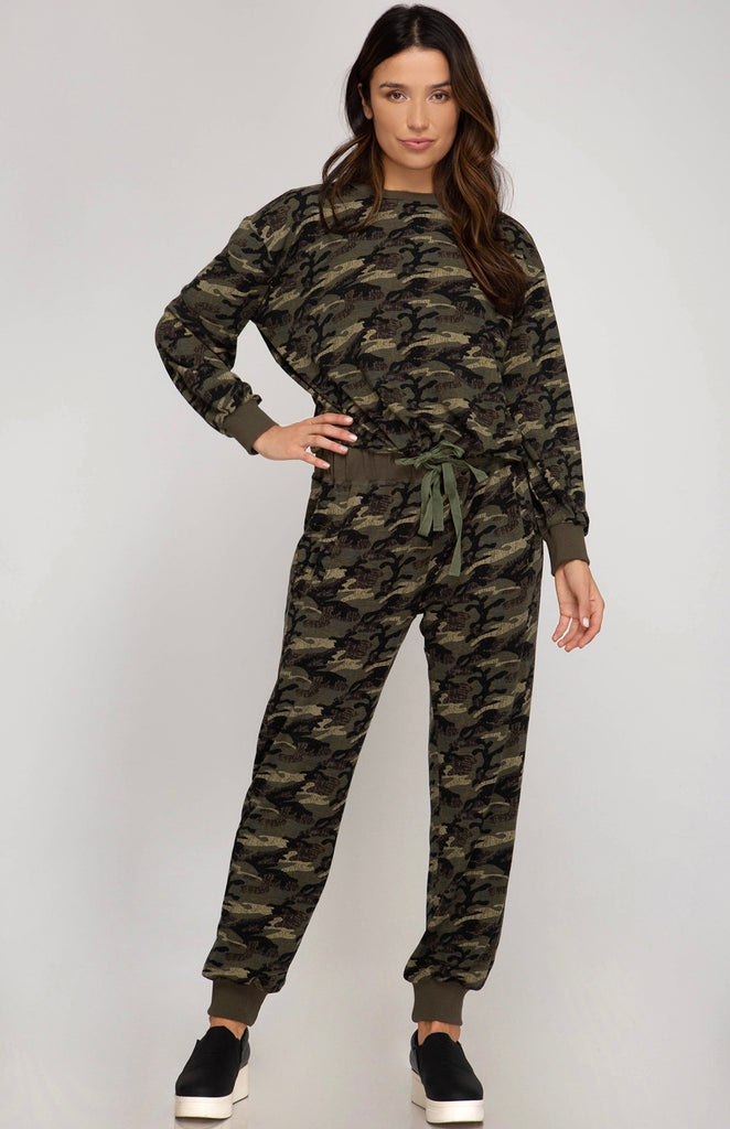 Kendra Drawstring Camo pullover- olive
