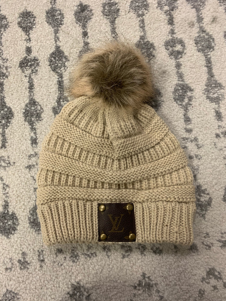 Tan Knit Upcycled LV hat