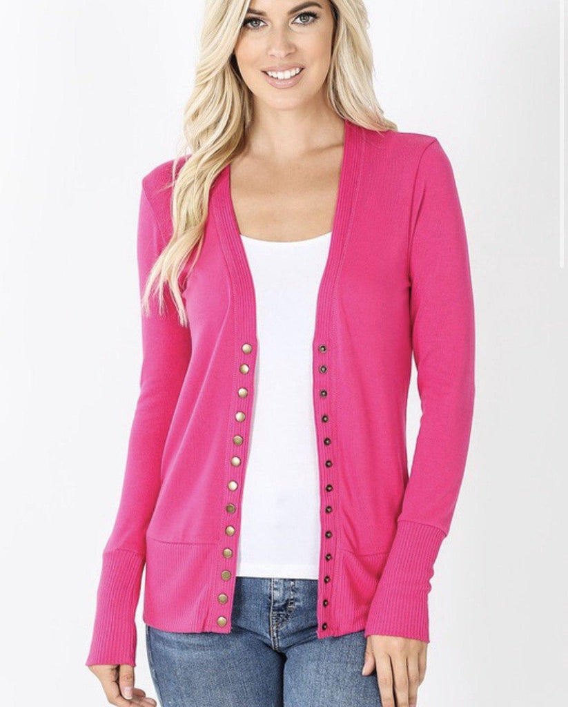 Hot Pink Button Up Cardigan