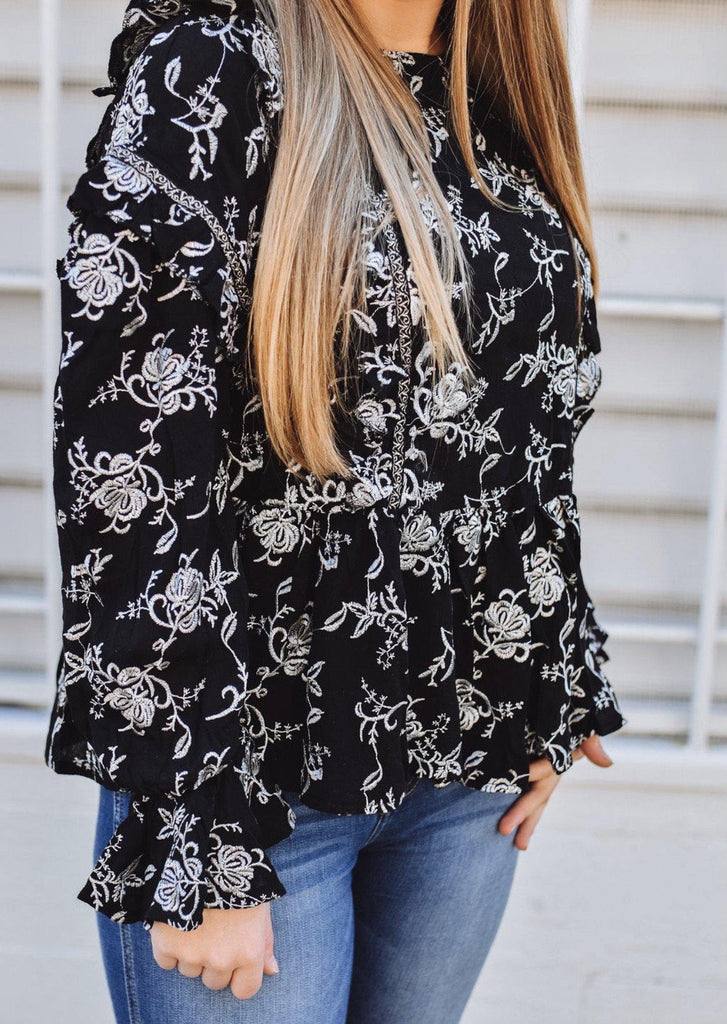 Black/White Embroidered Blouse