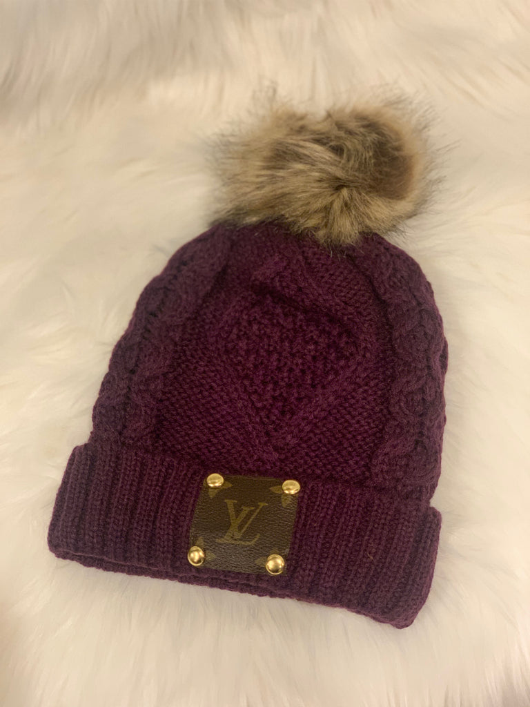 Lv Upcycled Hat- Purple