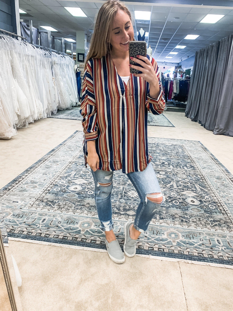 Stripe Printed V neck Tunic- Navy