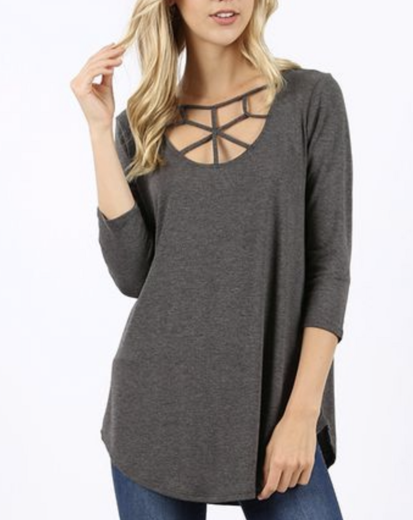 Web Cross Front Tunic- Charcoal