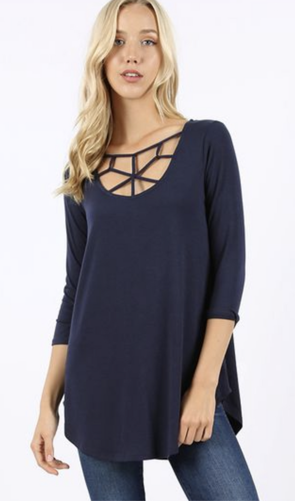 Web Cross Front Tunic- Navy