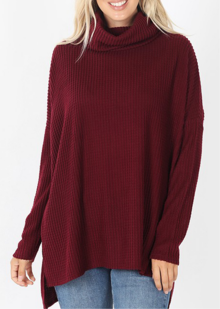 Thermal Cowl Neck High Low- Burgundy
