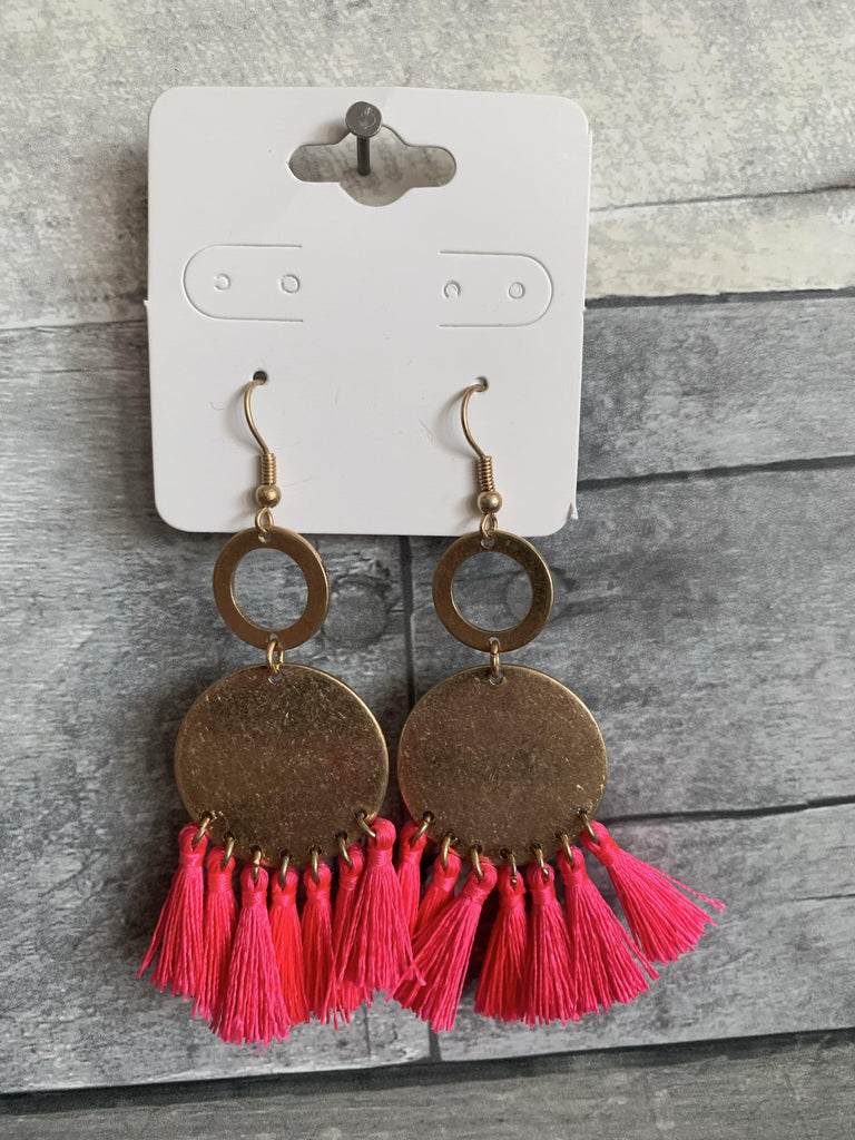Gold Hoop Earring with Pink Fringe