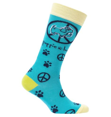 Puppie Love Socks-ADULT CREW SOCK, PEACE PUP