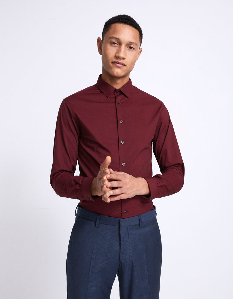 Camisa slim masantal1 bordeaux