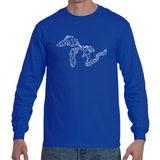 Great Lakes Map - Long Sleeve T-Shirt (Royal Blue)