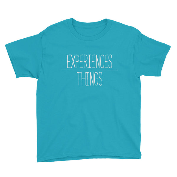 Youth Experiences over Things - Short Sleeve T-Shirt (Caribbean Blue)