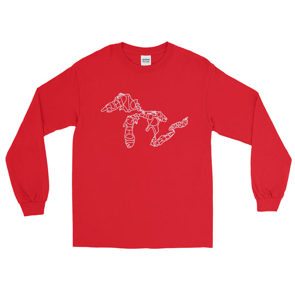 Great Lakes Map - Long Sleeve T-Shirt (Red)