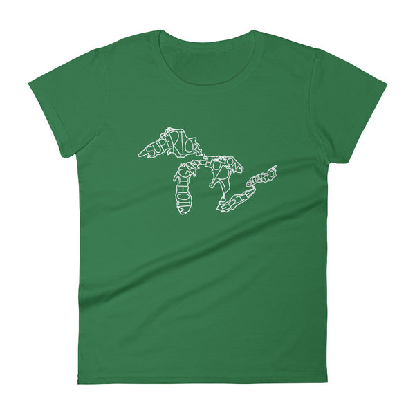 Women's Great Lakes Map - Short Sleeve T-Shirt (Green)