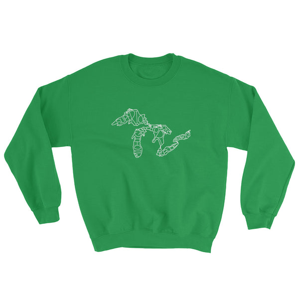 Great Lakes Map - Crewneck Sweatshirt (Irish Green)