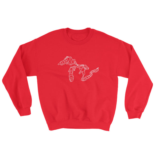 Great Lakes Map - Crewneck Sweatshirt (Red)