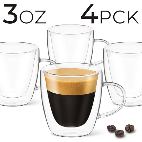 Image of 3 oz Espresso Coffee Cup - Pack of 4 - With Handle