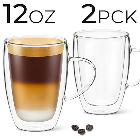 Image of 12 oz Latte Cup - Pack of 2 - With Handle