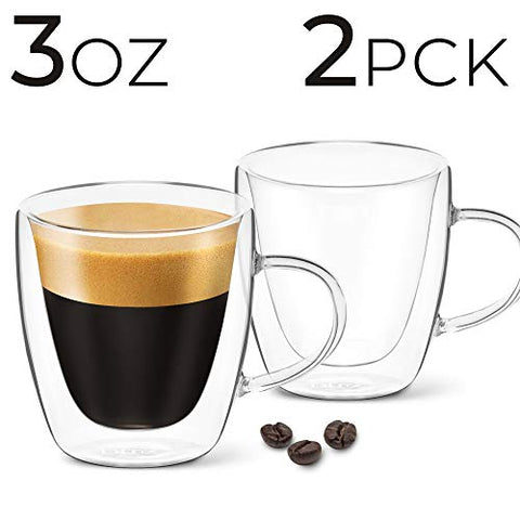 Image of 3 oz Espresso Coffee Cup - Pack of 2 - With Handle