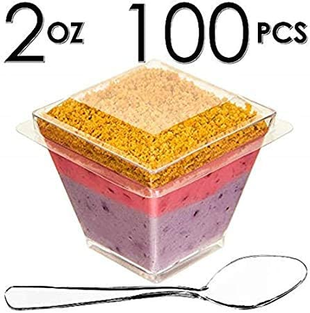 Image of [B2B-USA] 1000 Mini Cups with Lids and Spoons [2oz, Square]