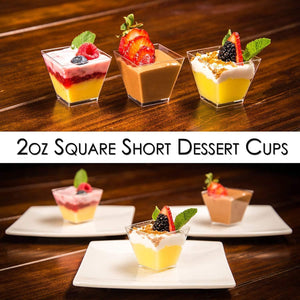 [B2B-USA] 1000 Mini Cups with Lids and Spoons [2oz, Square]