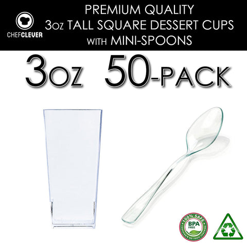 Image of 50 Mini Cups with Spoons [3 oz, Square]