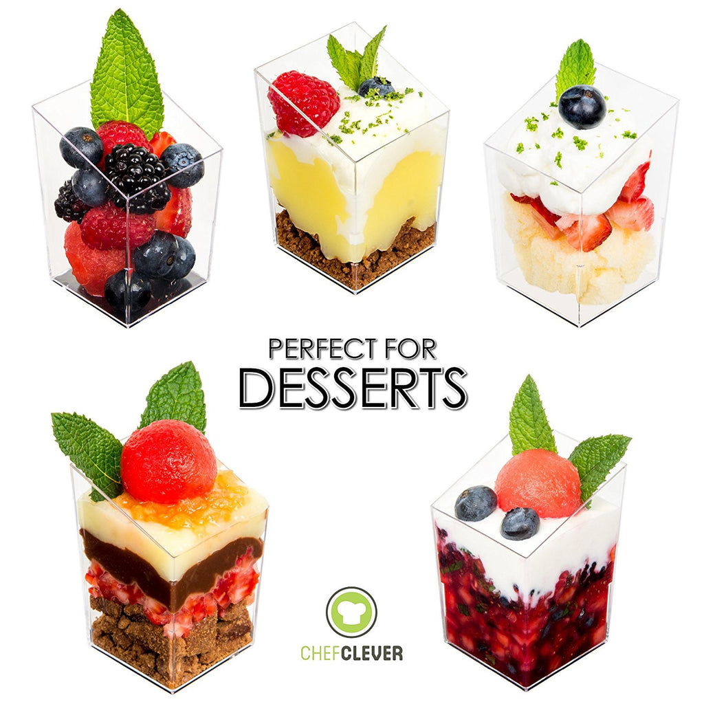 DLux 32 X 3 Oz Mini Dessert Cups With Spoons, Square