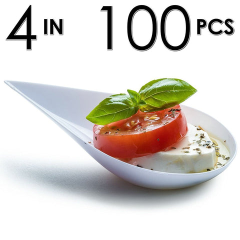 Image of 100 Tear Drop Mini Serving Plates [White]
