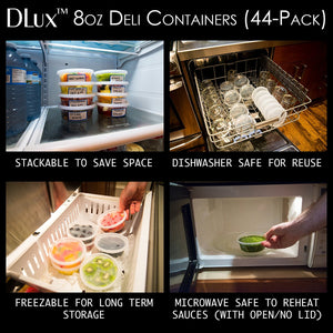 DLux Plastic Deli Containers with Lids and Labels [44 Clear Cups, 8 oz] Sealable, Airtight & Leak-proof, BPA Free Restaurant Quality Meal Prep & Storage Foodsavers
