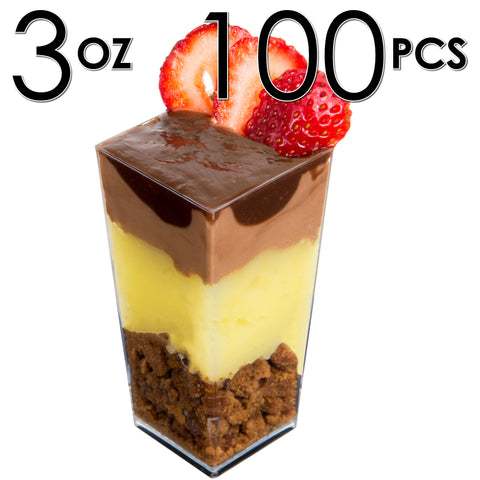 100 Mini Cups (no Spoons) [3 oz, Square]