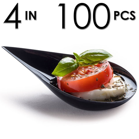 Image of 100 Tear Drop Mini Serving Plates [Black]