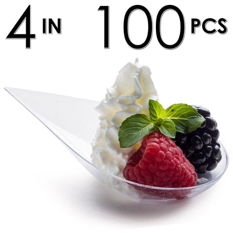 100 Tear Drop Mini Serving Plates [Clear]