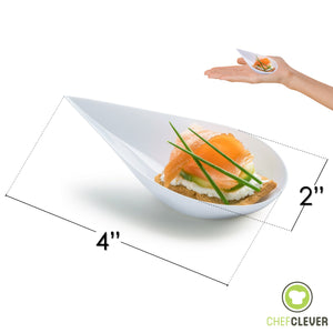 [B2B-CAN] 1000 Tear Drop Mini Serving Plates with Forks [White]