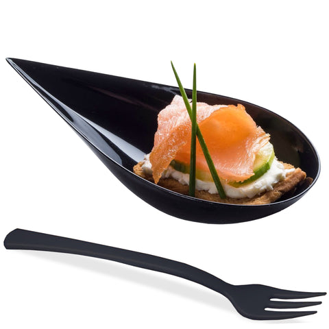 Image of [B2B-USA] 1000 Tear Drop Mini Serving Plates with Forks [Black]