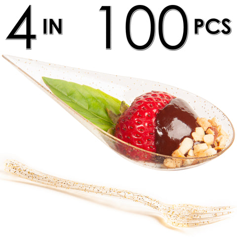 Image of 100 Tear Drop Mini Serving Plates with Forks [Gold Glitter]