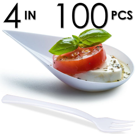 Image of 100 Tear Drop Mini Serving Plates with Forks [White]