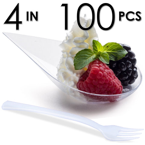 Image of 100 Tear Drop Mini Serving Plates with Forks [Clear]