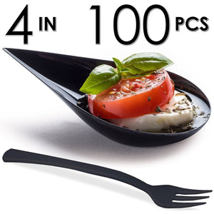 100 Tear Drop Mini Serving Plates with Forks [Black]