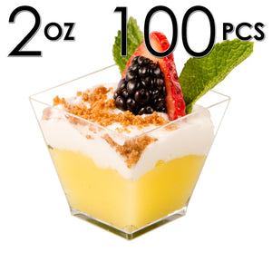 100 Mini Cups (no Spoons) [2 oz, Square]