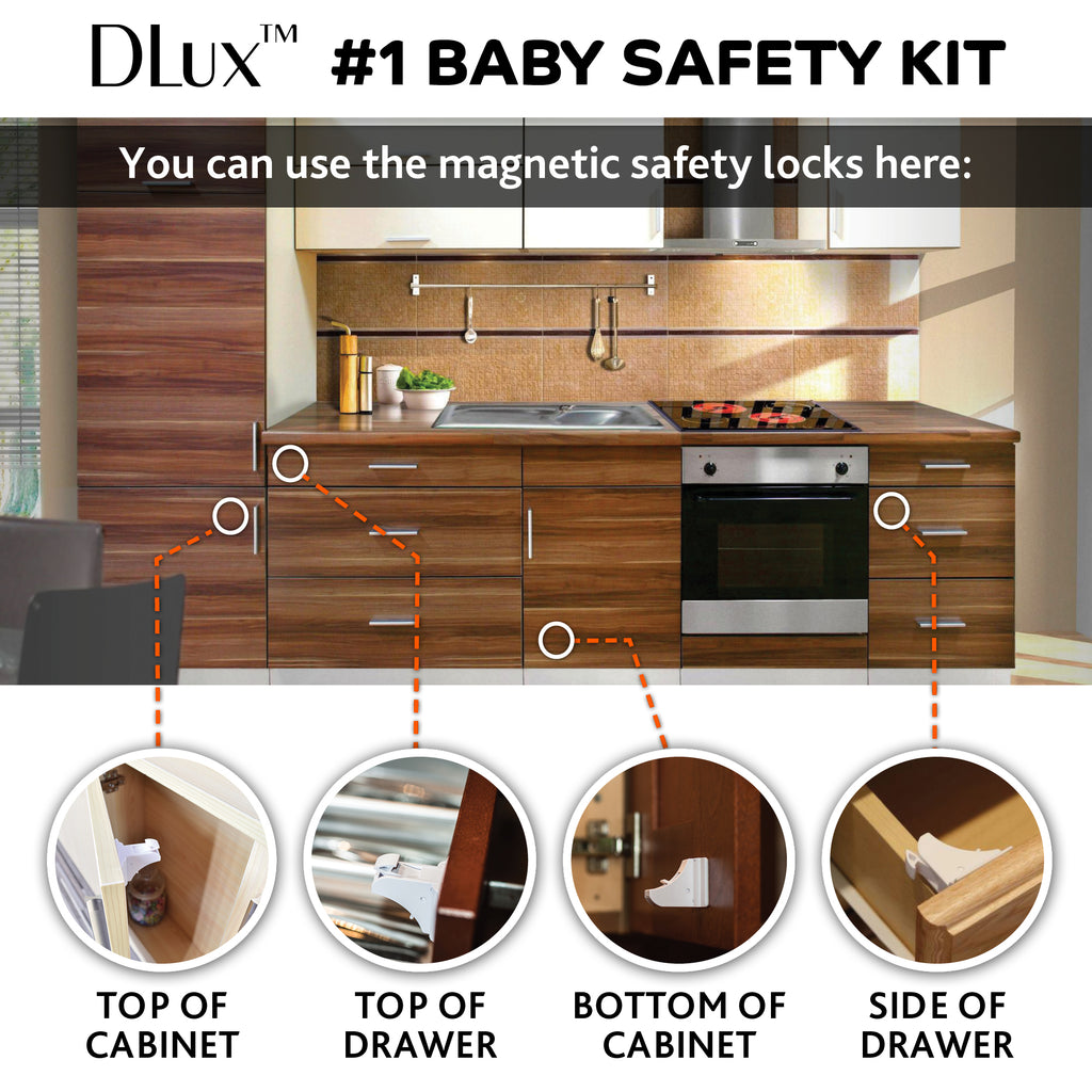 Magnetic Cabinet Locks Child Safety 41-Piece Kit with Extra Corner Guards  [12 Magnetic Locks, 2 Keys, 8 Corner Guards] Easy Installation No-Drill  Baby ...