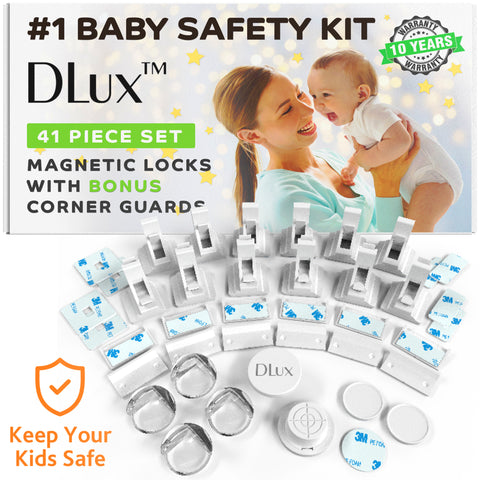 Magnetic Cabinet Locks Child Safety 41-Piece Kit with Extra Corner Guards [12 Magnetic Locks, 2 Keys, 8 Corner Guards] Easy Installation No-Drill Baby Proofing Locks to Childproof Cabinets and Drawers