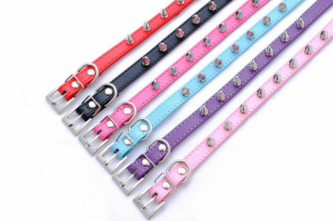 Punk Round Style Dog Collar PU Leather Round Spiked Pet Collars Leather Necklace