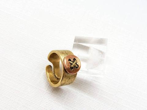 New men women unisex stunning band ring textile theme adjustable ring present button clothes on textile texture very unique and new design copper with brass metal .