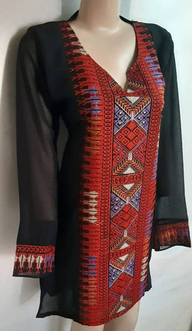 Women's Long chiffon Blouse embroidered in red on handmade black fabric heritage