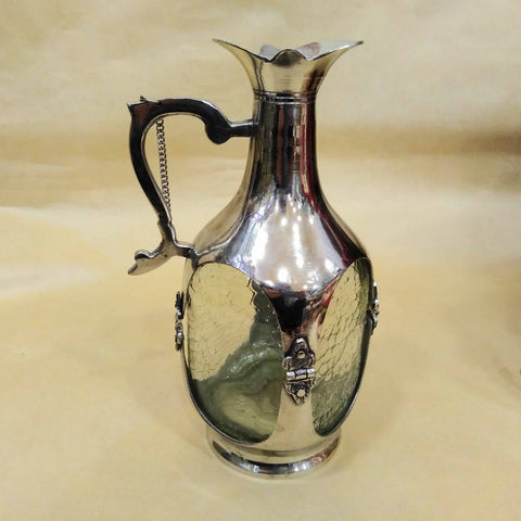 Handmade Turkish Traditional Vintage Oil Glass Bottle Jar Of copper
