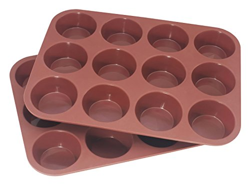12 & 24 Cup Silicone Non-Stick Muffin & Cupcake Baking Tray Pans by Bakers Guild Tools