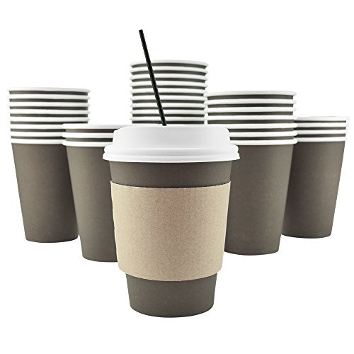 100 Pack - 12 Oz, 16 Oz Disposable Hot Paper Coffee Cups, Lids, Sleeves, Stirring Straws To Go