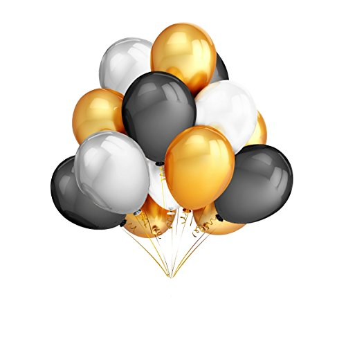 120Pcs 12 Inches Gold & Silver & Black & White Color Latex Balloons Party Decoration Accessories & Party Favors