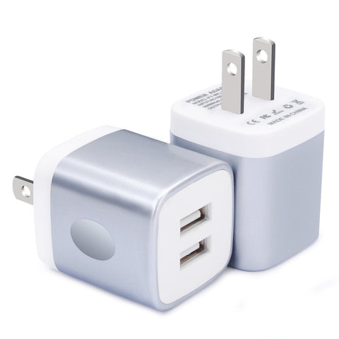 Wall Charger, CableLovers 2-Pack 2.1Amp USB Wall Adapter Dual Port Quick Charger Cube for any iOS or Android Devices: iPhone, iPad Samsung ,More.Charger Base,Charger Brick ,Charger Blocks, USB Brick