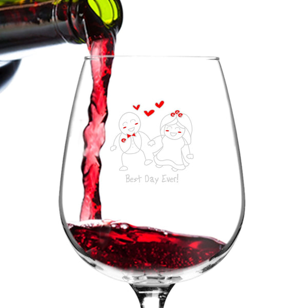 Congratulations! Engagement Wine Glass- 12.75 oz. - Romantic Red or White Wine Glass Gift - Made in USA - Present Idea for Recently Engaged Woman, Her, Couples